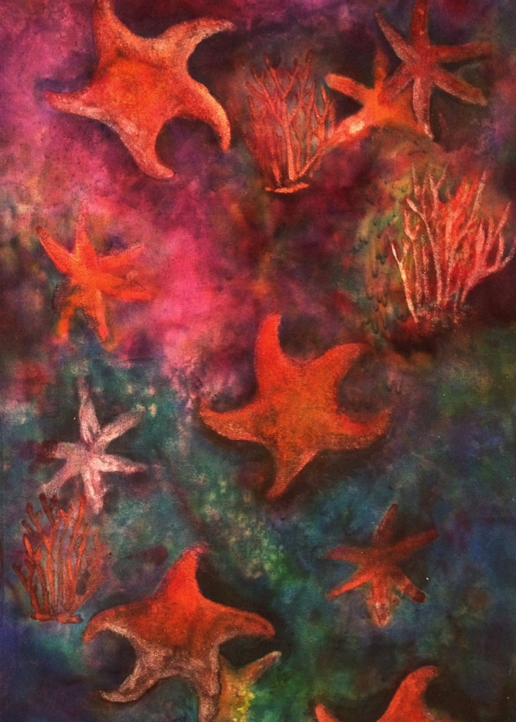 Under the Sea - Painting on Silk by Connie Levy